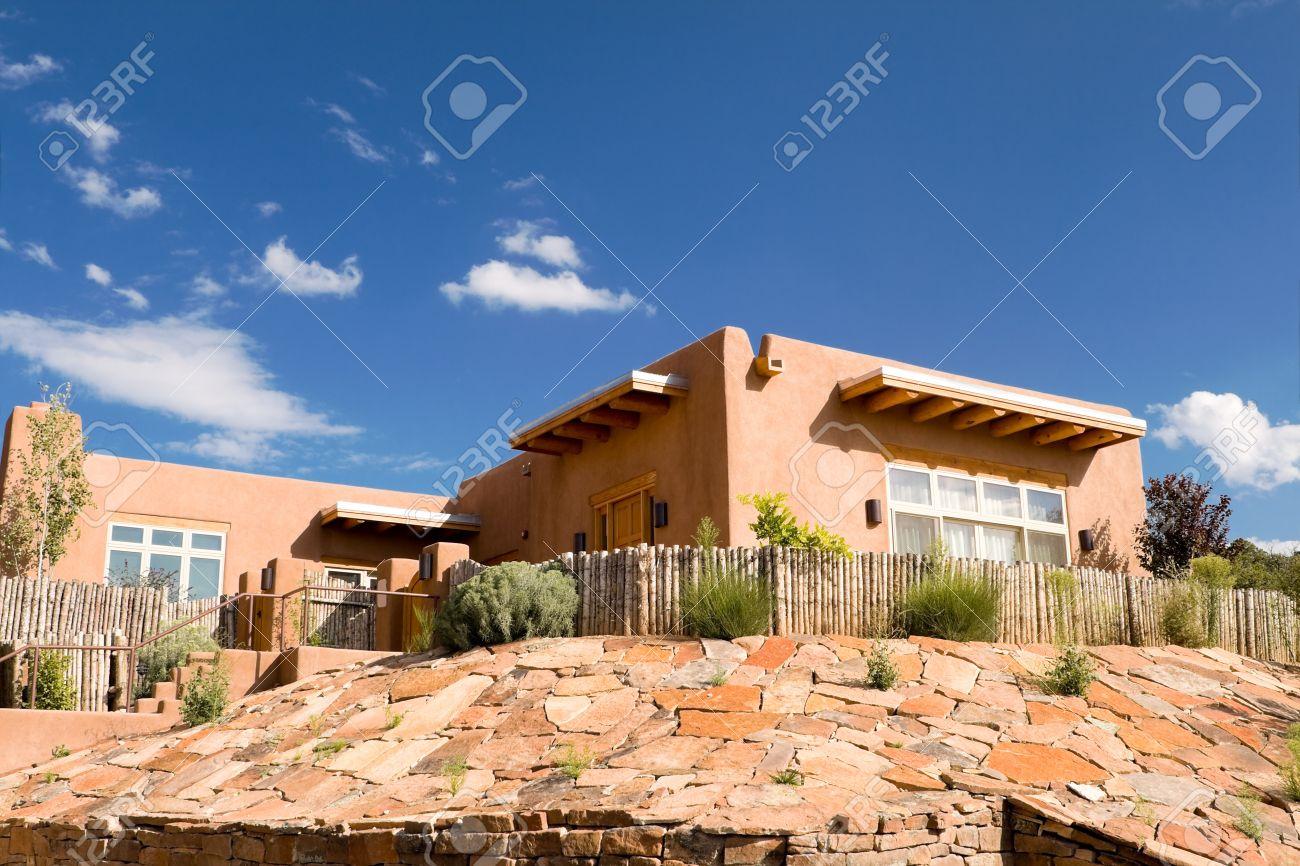 Mission Style dobe Home, Suburban Santa Fe, NM, Palisade Fence ... - ^