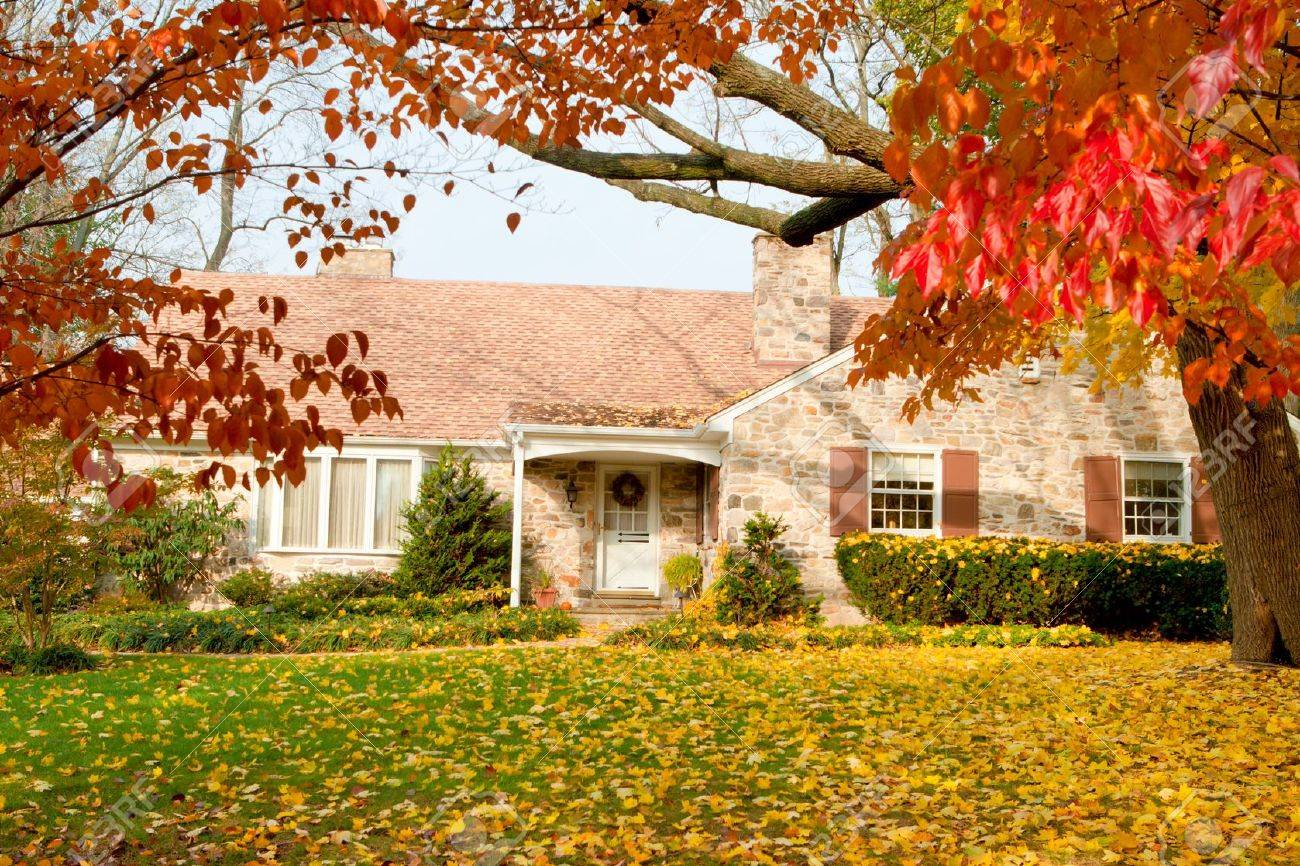 Single Family house with autumn leaves. Dogwood trees in the foreground, the yellow leaves are Norway Maple.  Suburban Philadelphia, PA, USA. Stock Photo - 11043810