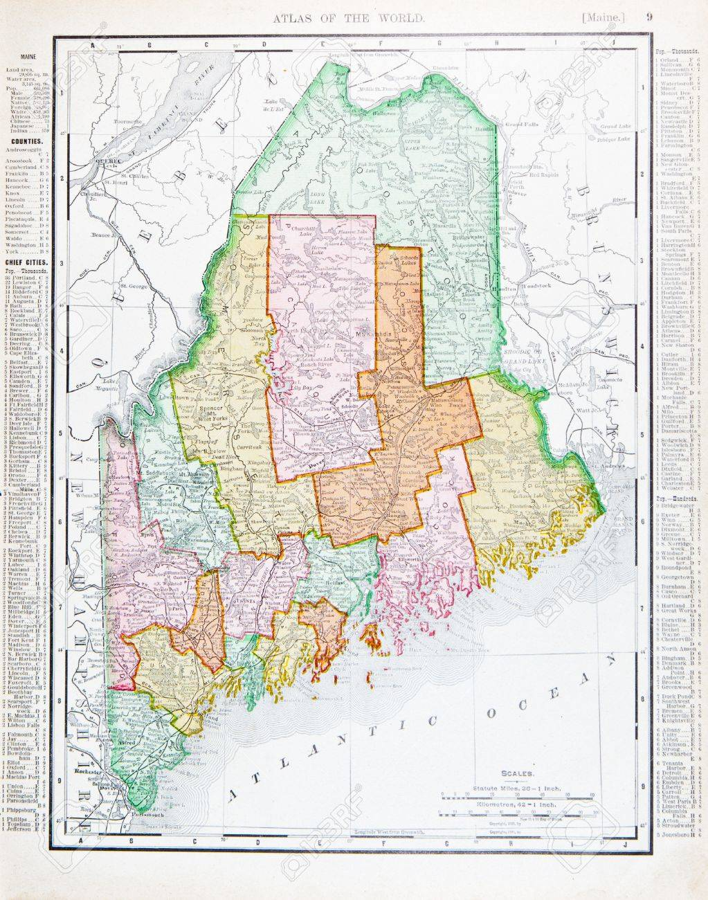 Old Maine Map.Old Map Of The State Of Maine Usa 1900 Stock Photo Picture And