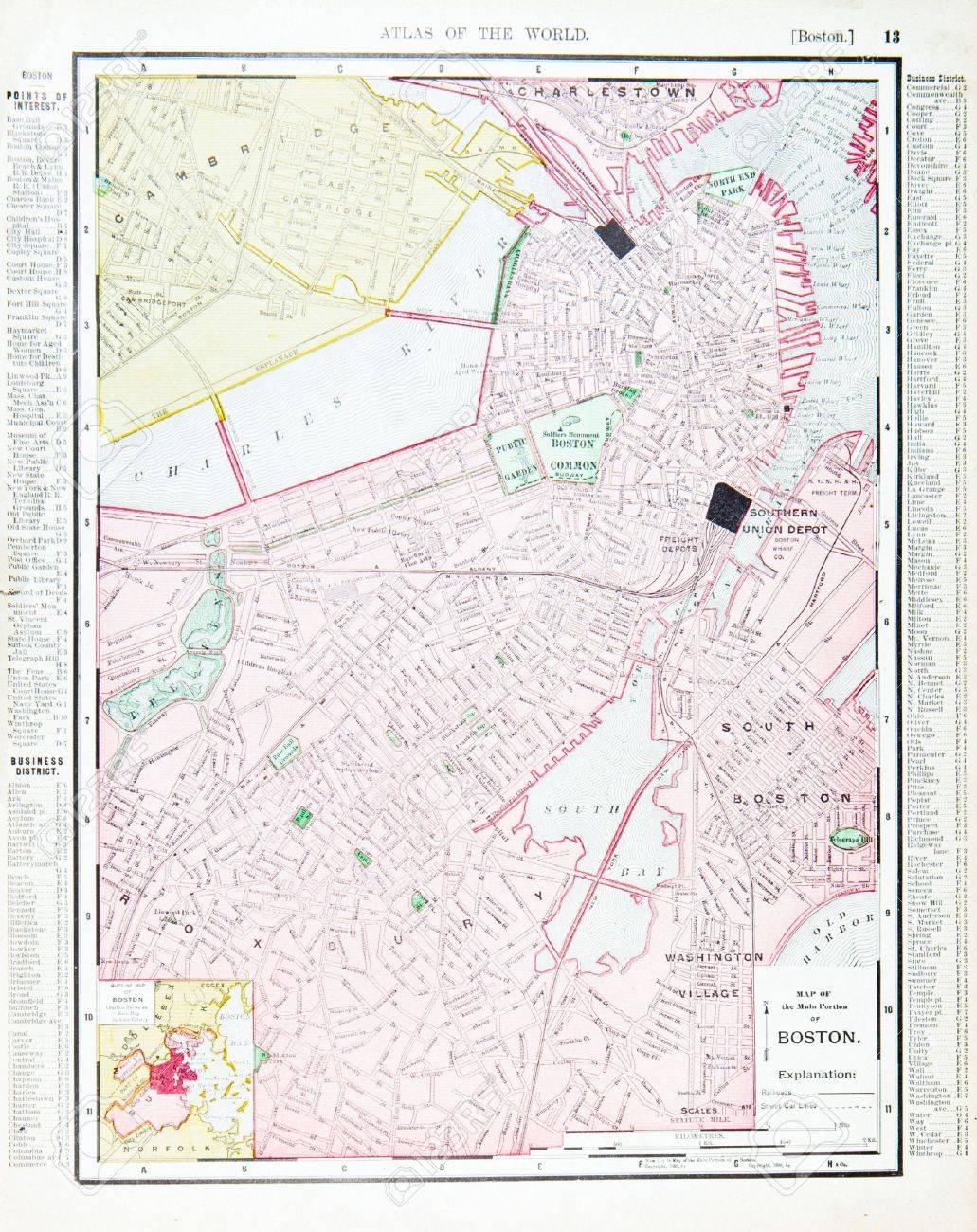 Jahrgang Straßenkarte, Die Innenstadt Von Boston, MA, USA, 1900 ...
