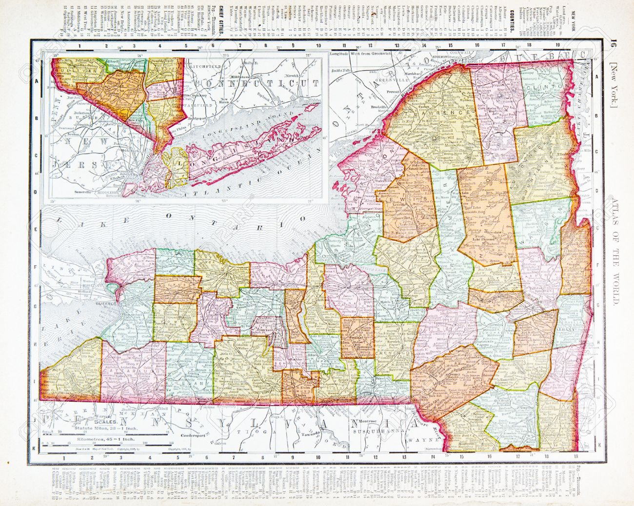 Old Map Of New York State USA Stock Photo Picture And - Map of new york usa
