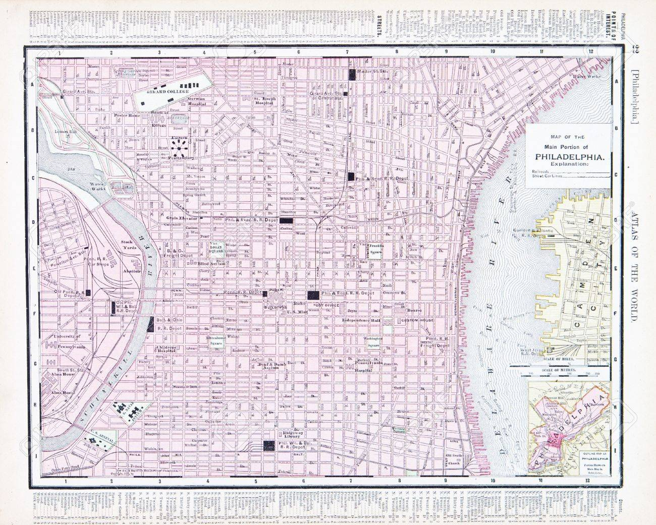 Vintage Map Of Philadelphia PA United States Stock Photo - Philadelphia capital of us origanal map