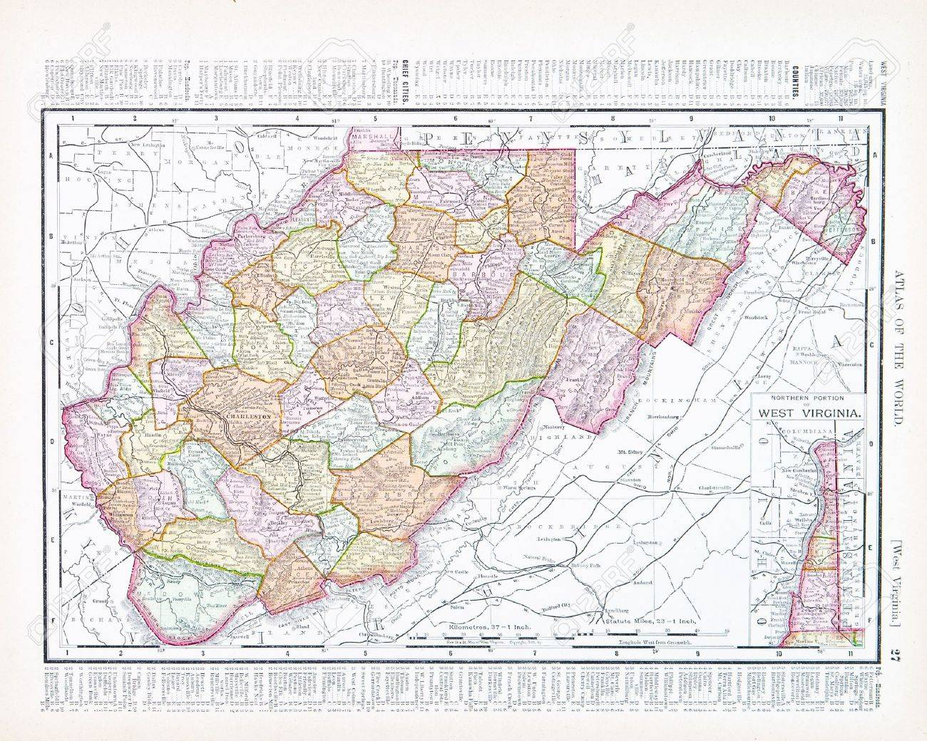 Vintage Map Of The State Of West Virginia, USA, 1900 Stock Photo ...