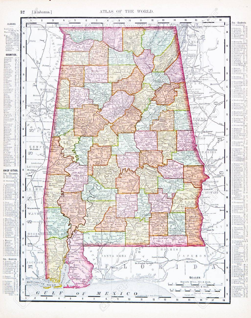 Vintage Map Of The State Of Alabama USA Stock Photo - Alabama in usa map