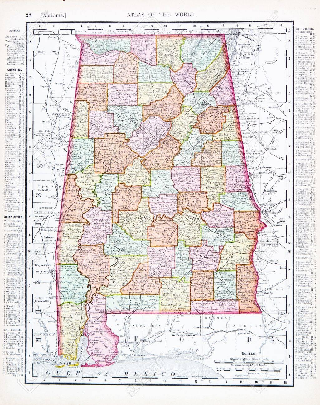 Vintage Map Of The State Of Alabama USA  Stock Photo - Map usa alabama