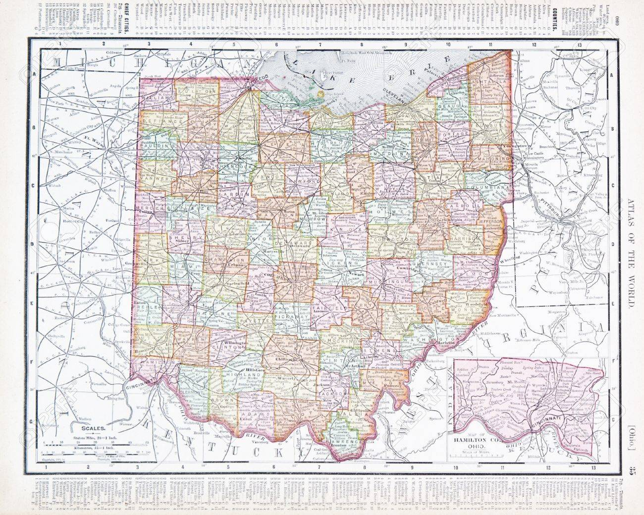 Full Color Vintage Map Of The State Of Ohio USA  Stock Photo - Usa full map