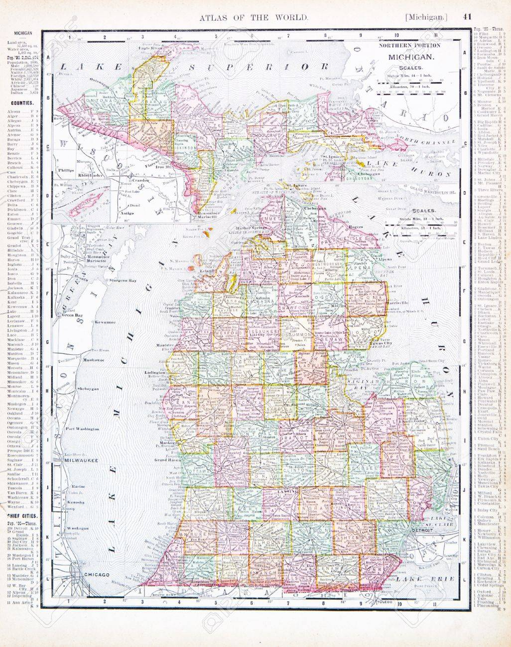 Vintage Map Of The State Of Michigan United States Stock - Michigan us map