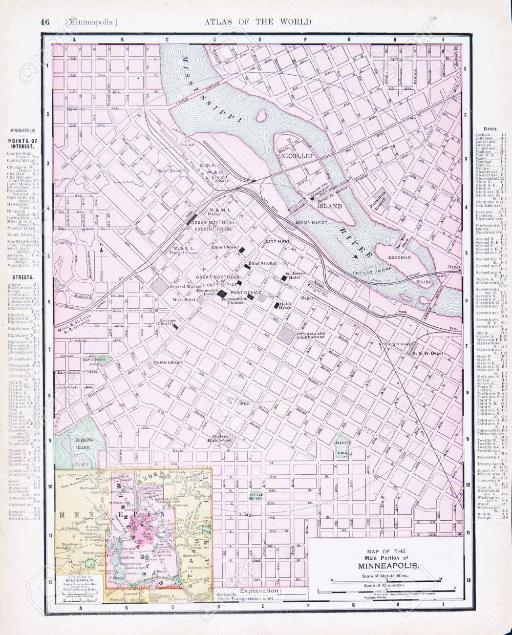 Vintage Map Of Minneapolis, Minnesota, MN, United States, 1900 Stock ...