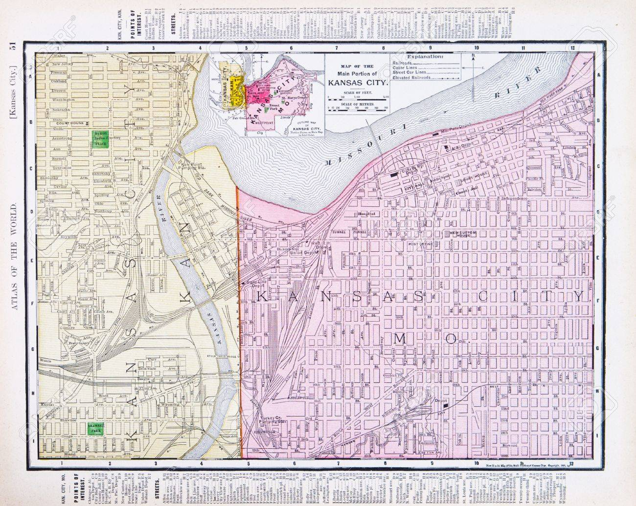 Vintage Map Of Kansas City, Kansas, And Kansas City Missouri ...