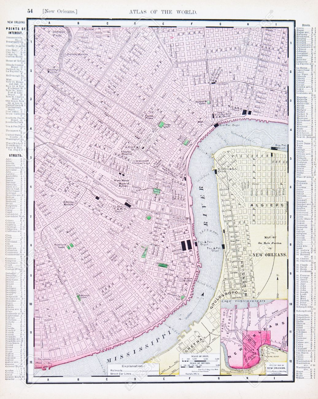 Vintage Map Of New Orleans La Usa 1900 Stock Photo Picture And