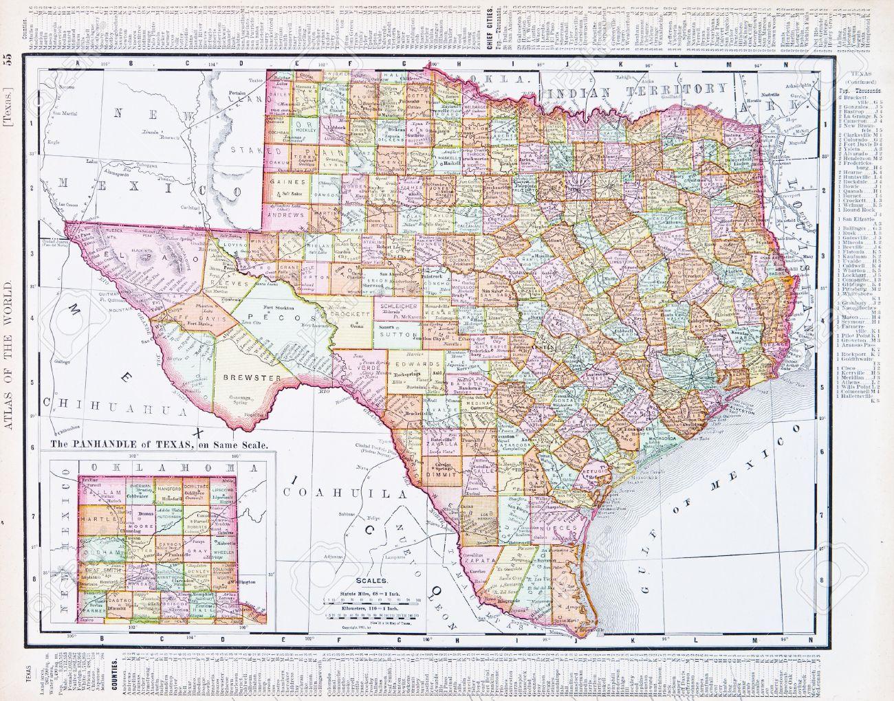 Vintage Mapa Del Estado De Texas TX Estados Unidos Fotos - Mapa de texas