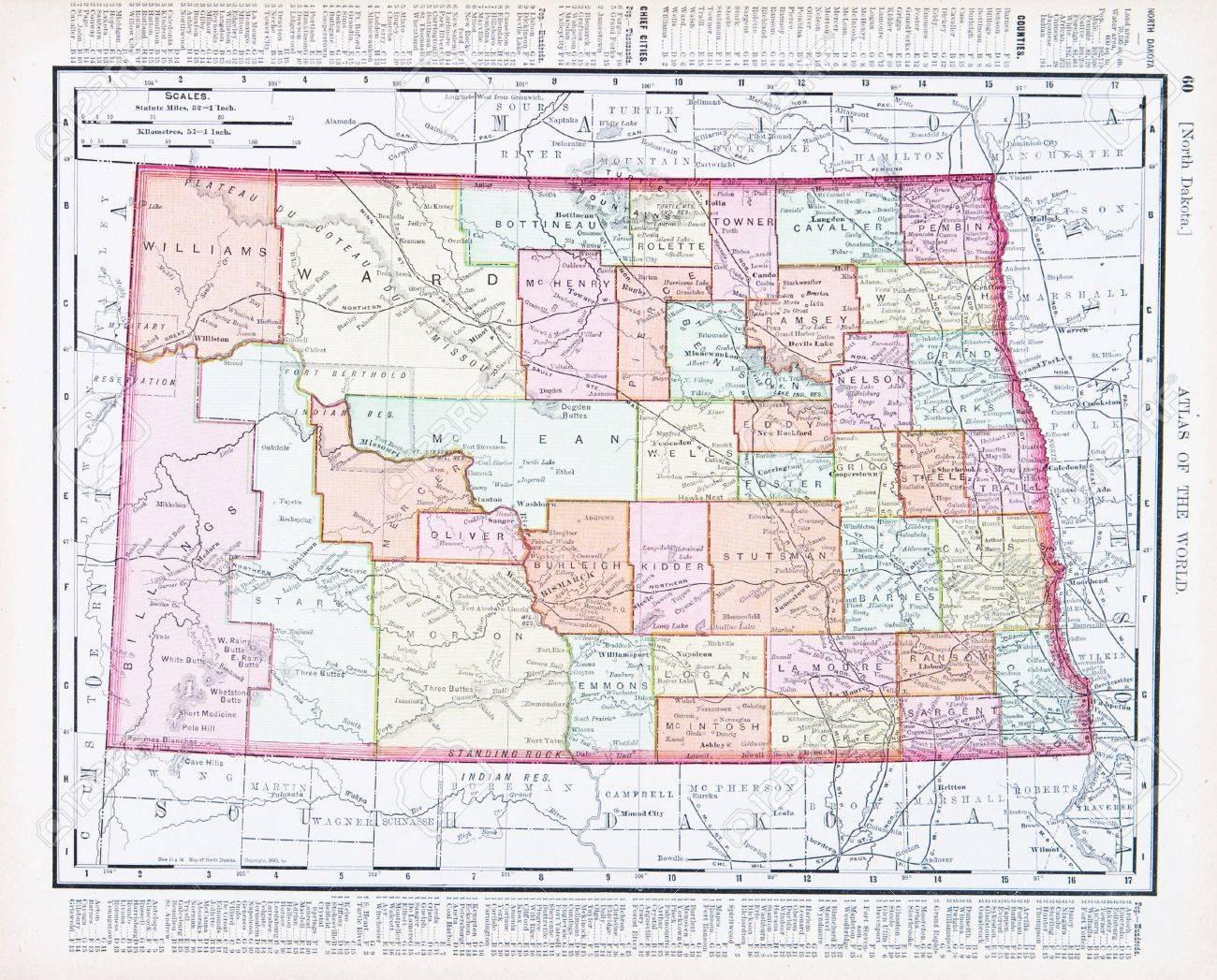 Vintage Map Of The State Of North Dakota United States - North dakota on the us map