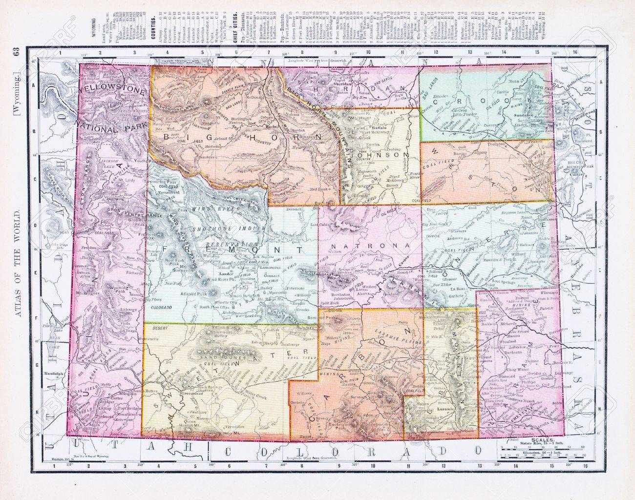 Vintage Map Of The State Of Wyoming United States Stock - Wyoming us map