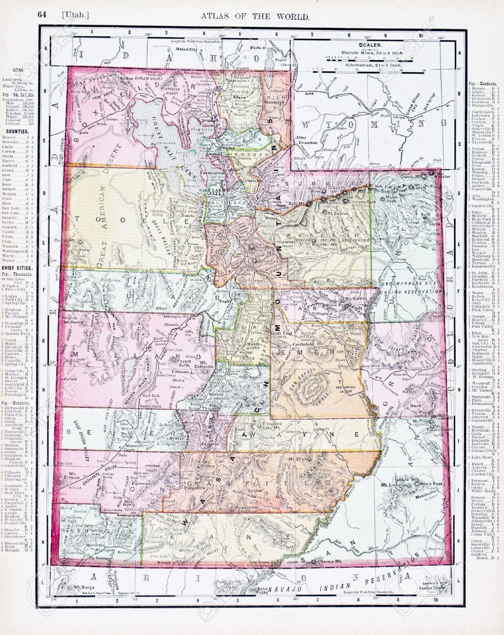 Vintage Map Of The State Of Utah United States Stock Photo - Map of utah