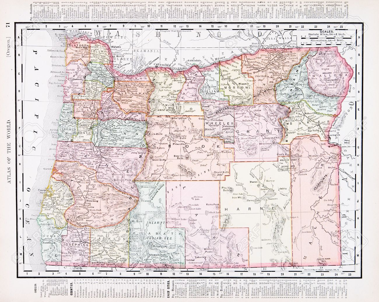 Vintage Map Of The State Of Oregon United States Stock - Map of the state of oregon