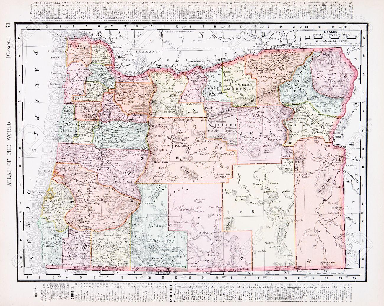 Vintage Oregon Map.Vintage Map Of The State Of Oregon United States 1900 Stock Photo