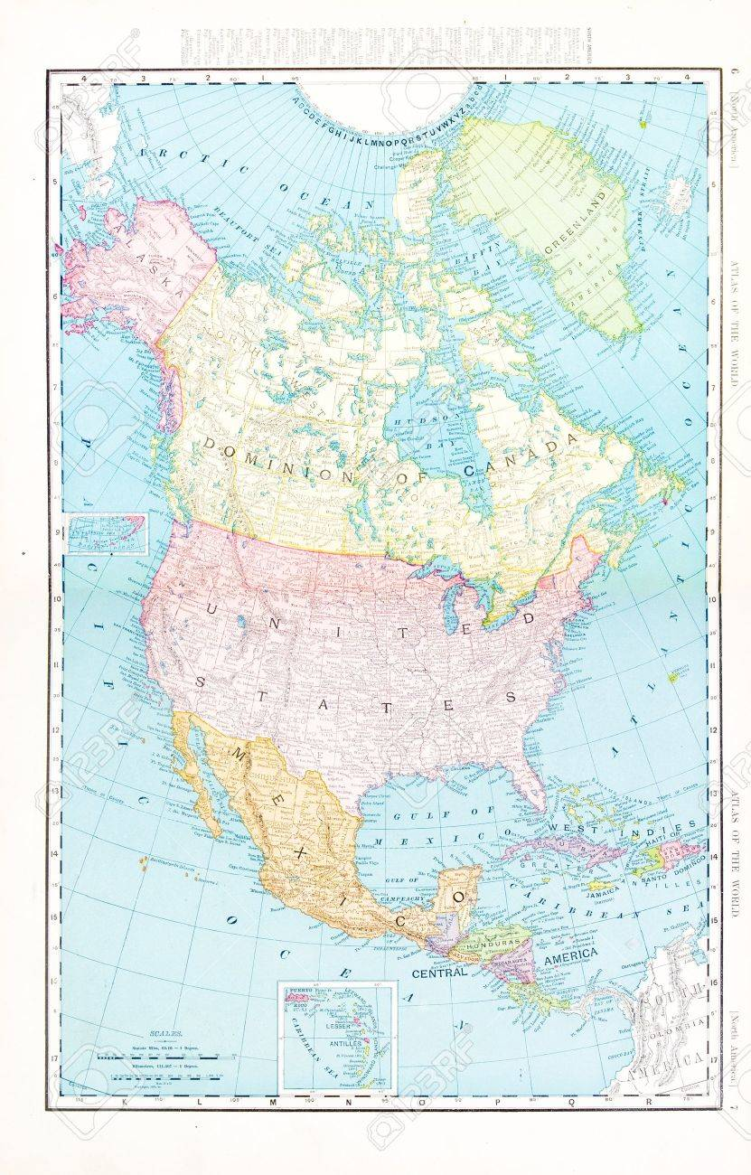 Map Of Canada 1900.Vintage Map Of North America Including Usa Mexico And Canada