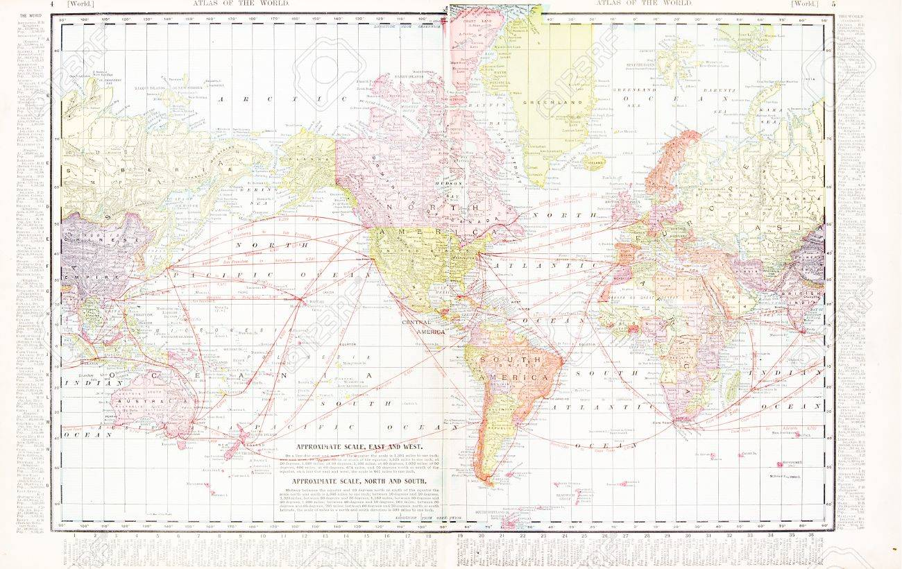 Vintage World Map Stitched From 2 Original Files. Map Has The ...