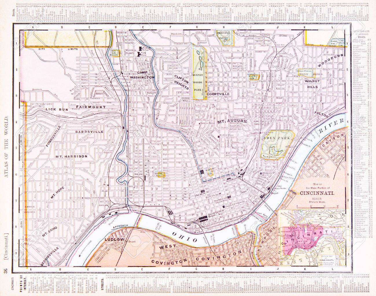 Vintage Map Of Cincinnati, OH, USA, 1900 Stock Photo, Picture And ...