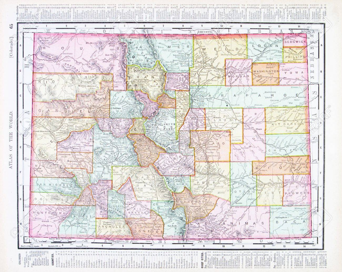 Vintage Map Of The State Of Colorado USA Stock Photo - Colorado on map of usa