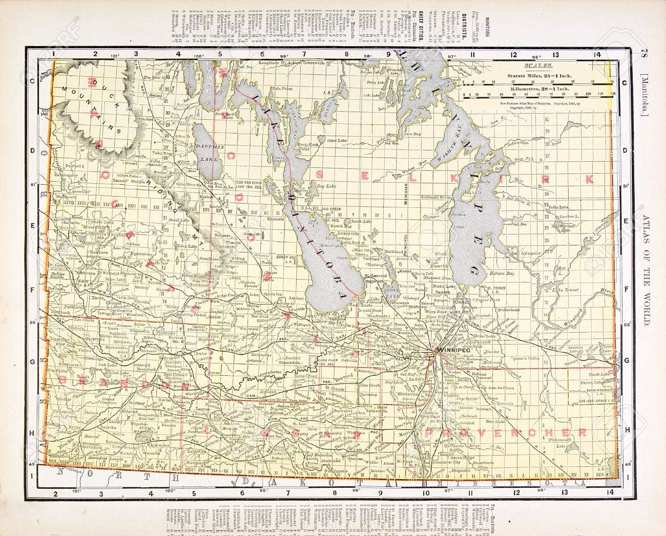 Vintage Map Of Manitoba Canada Stock Photo Picture And - Map of manitoba