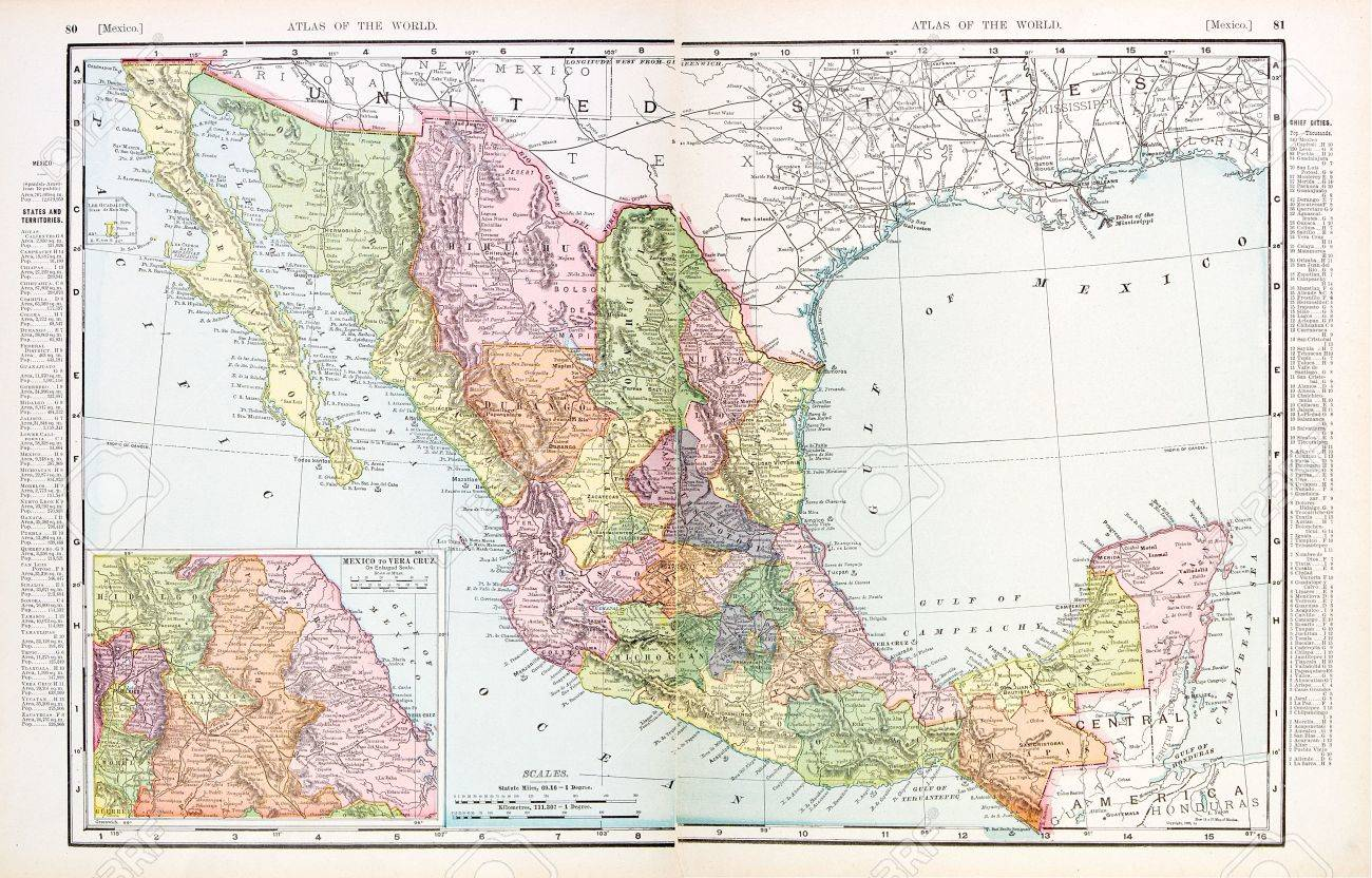 Map 1900.Vintage Map Of Mexico Stitched From 2 Separate Images 1900