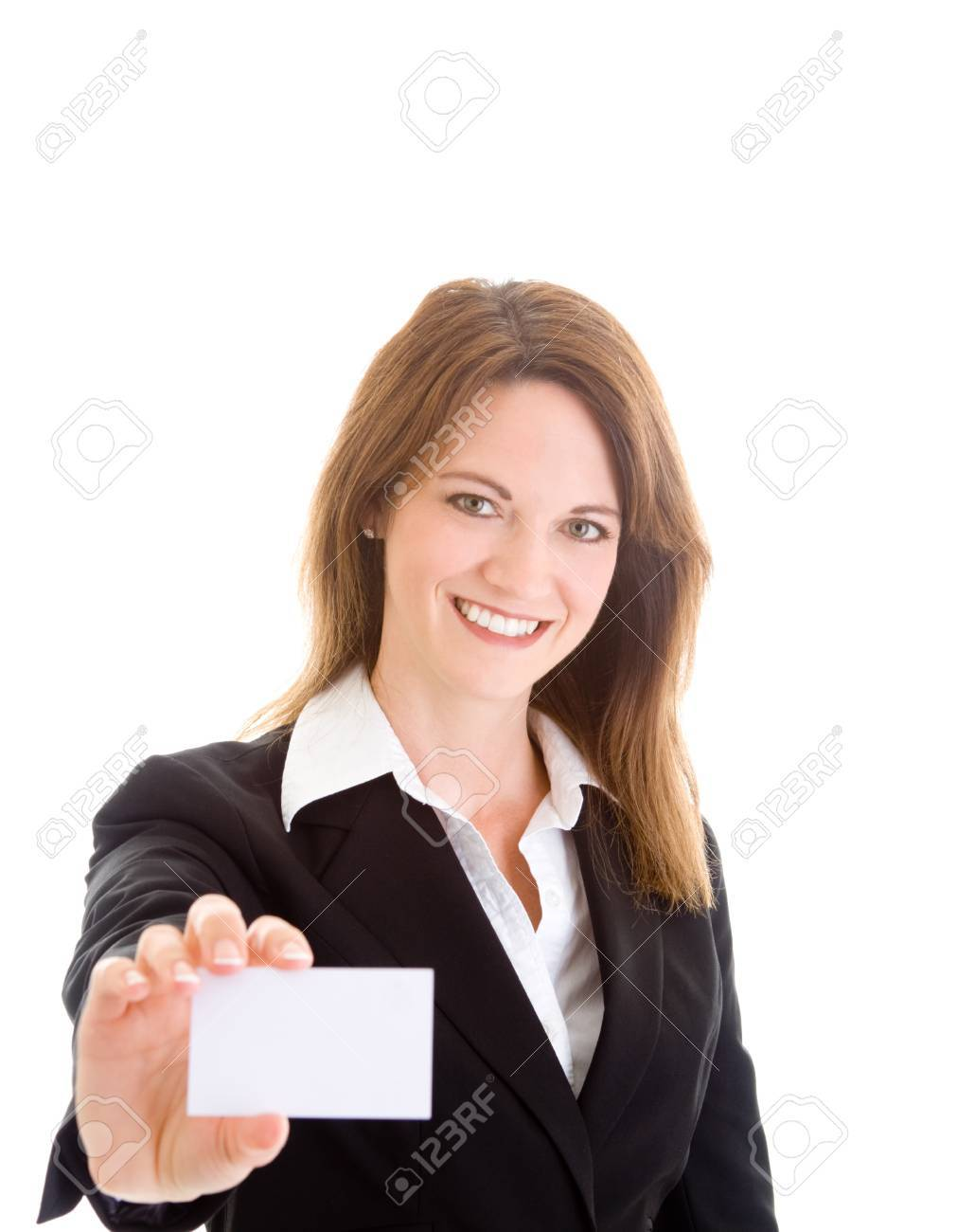 Caucasian woman holding out a business card Stock Photo - 11397289