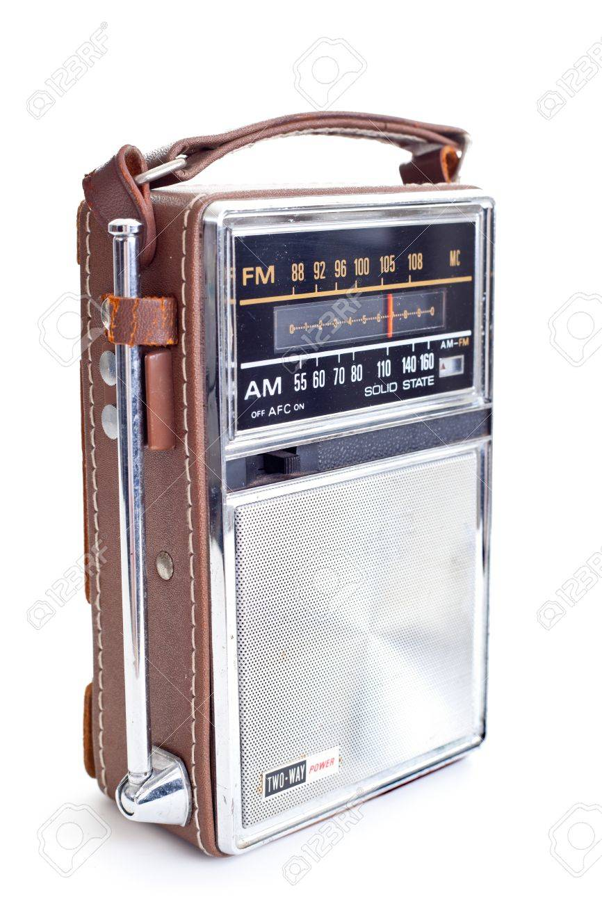 Old portable radio, lots of chrome and leather  Isolated on