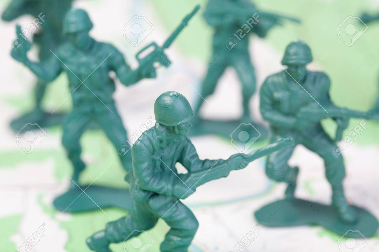 Plastic Army Men Fighting On Topographic Map The Map Was Produced By The U S Geological