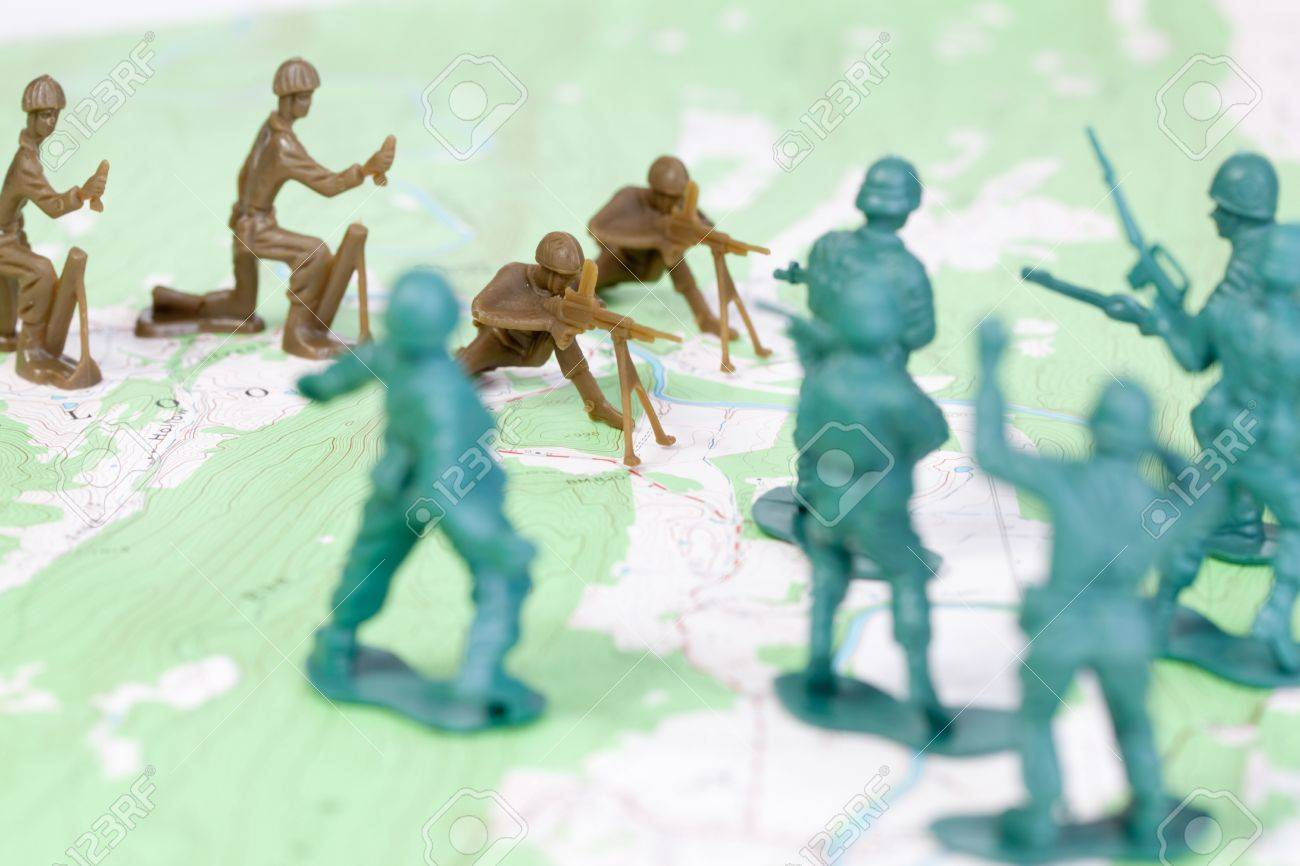 Plastic Army Men Fighting On Topographic Map The Map Was Produced - Us geological topographic maps