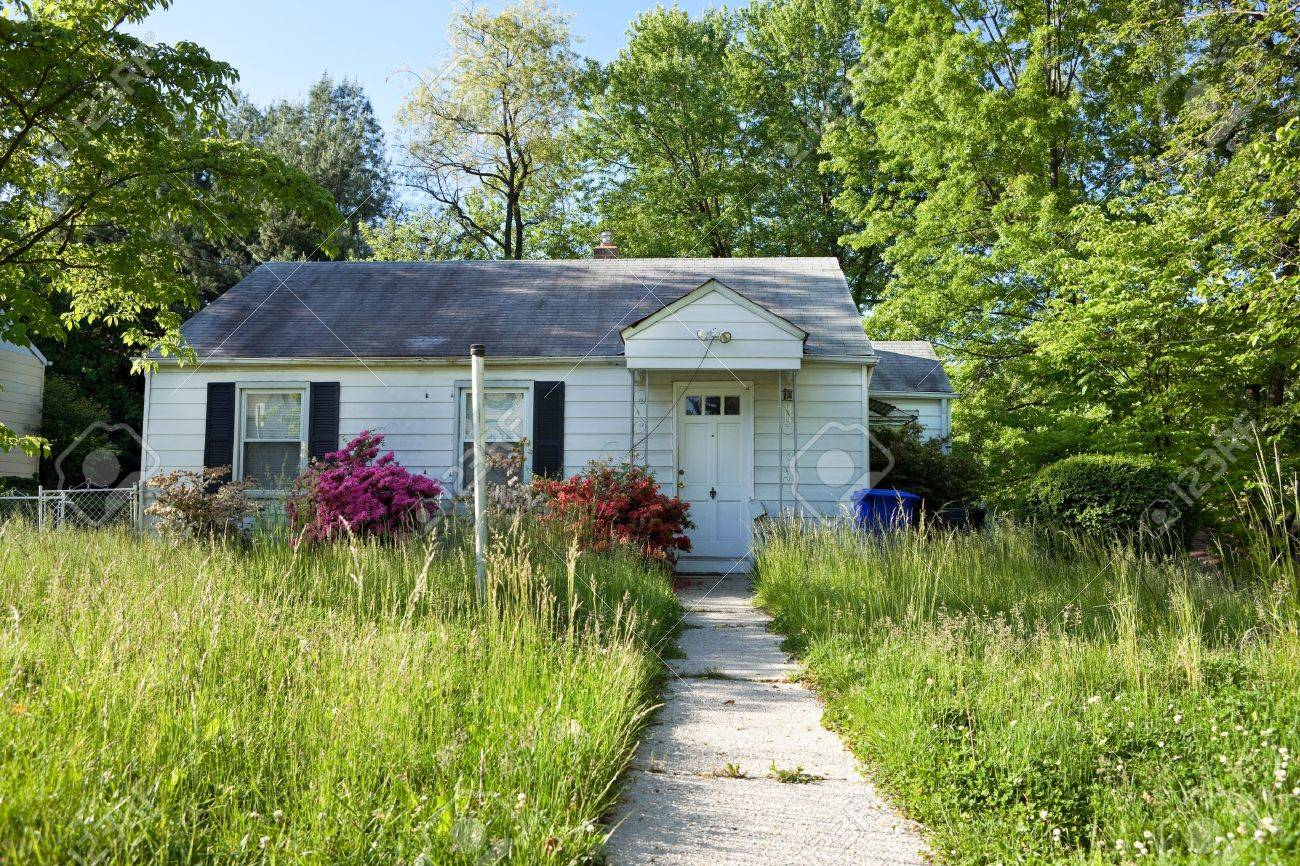 Front vew of unmowed lawn of an abandoned foreclosed Cape Cod style house in suburban Maryland, USA. Stock Photo - 11379707