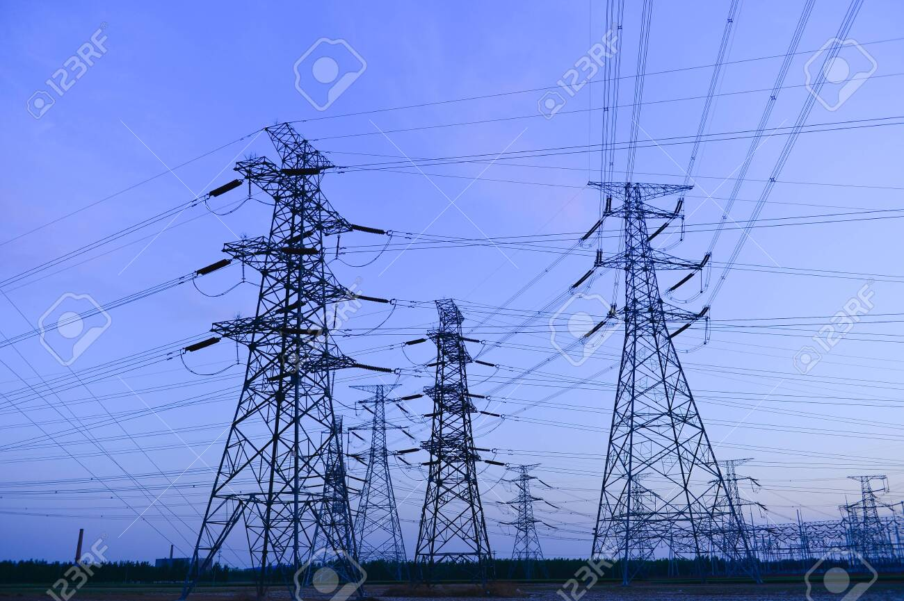 The power supply facilities of contour in the evening - 124096697
