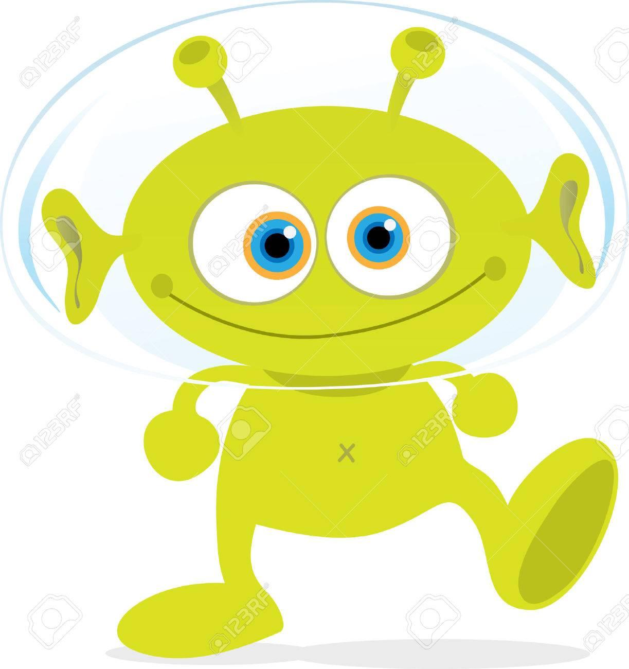 Cartoon Illustration of Walking Green Alien Stock Vector - 4714675