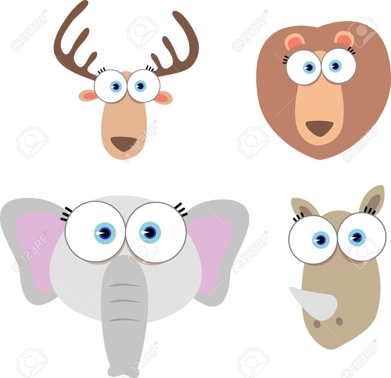 大きな目を持つ動物顔の漫画イラスト ロイヤリティフリークリップ