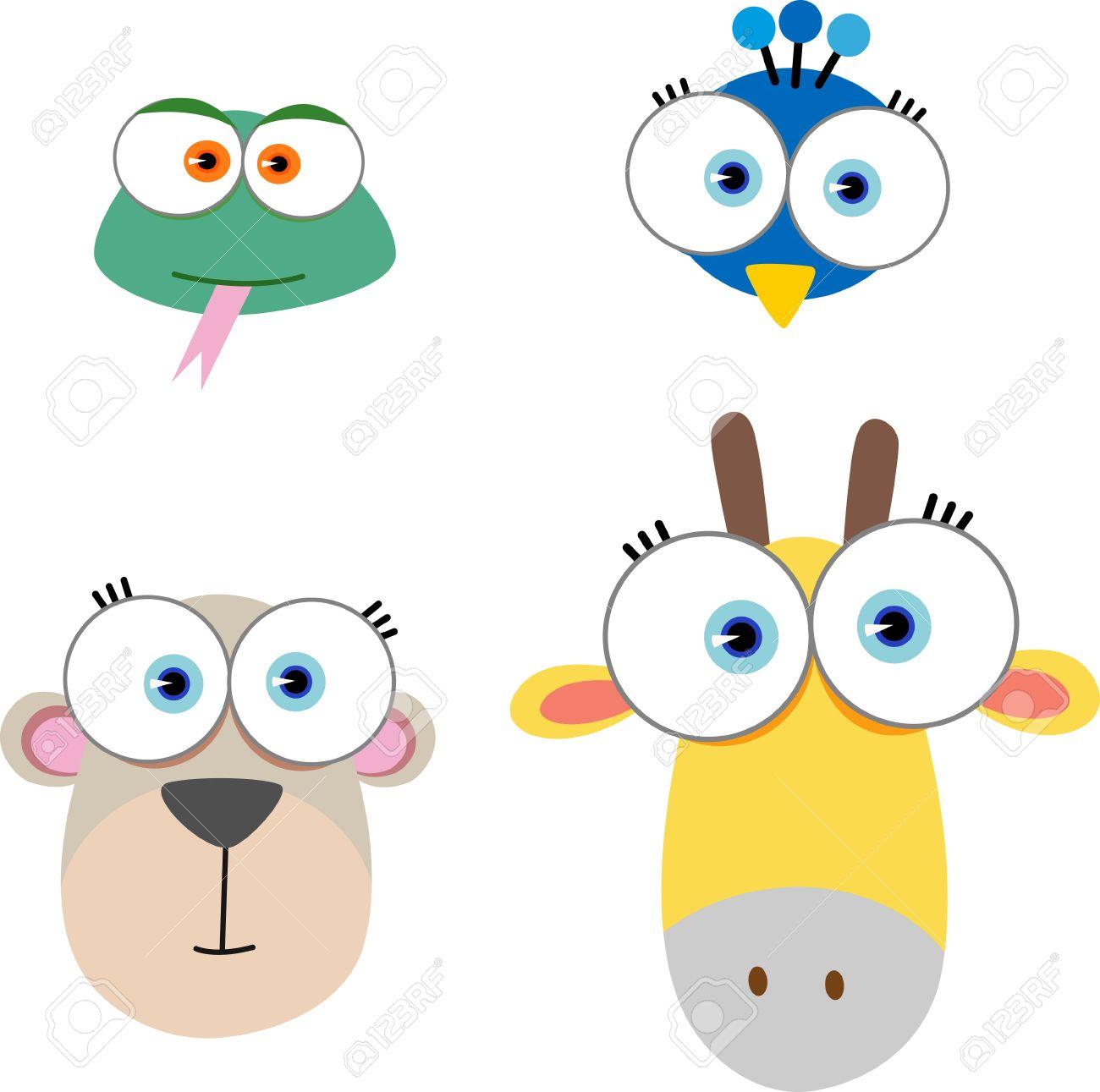 大きな目を持つ動物顔の漫画イラスト ロイヤリティフリークリップアート