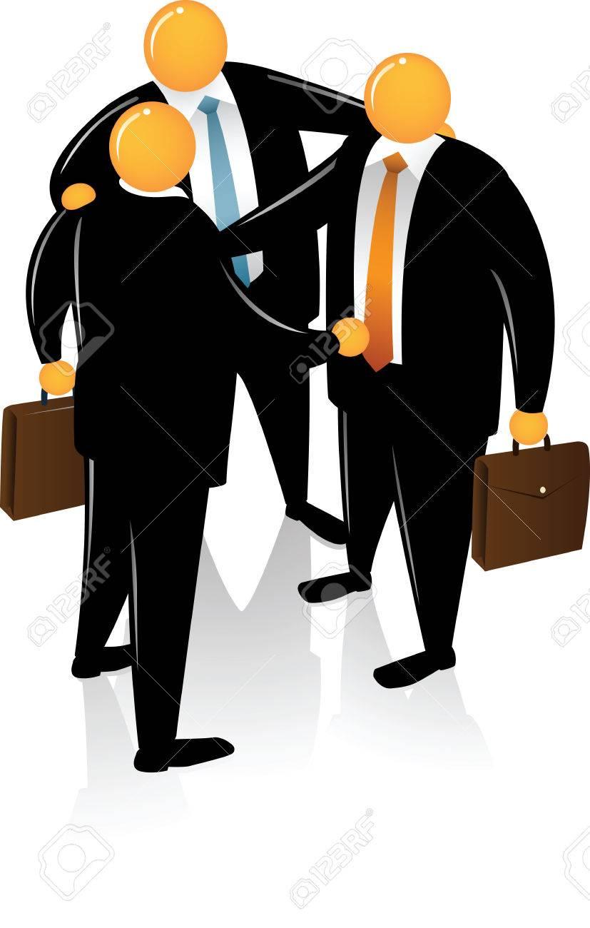 Three Orange Head wearing black suit talking each other Stock Vector - 4841115
