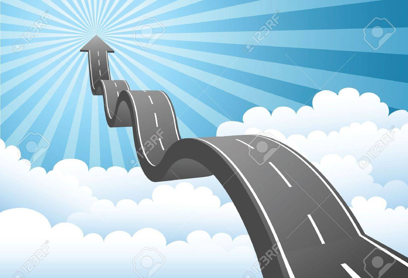 Illustration of arrow road to the sky through the cloud - 10415672
