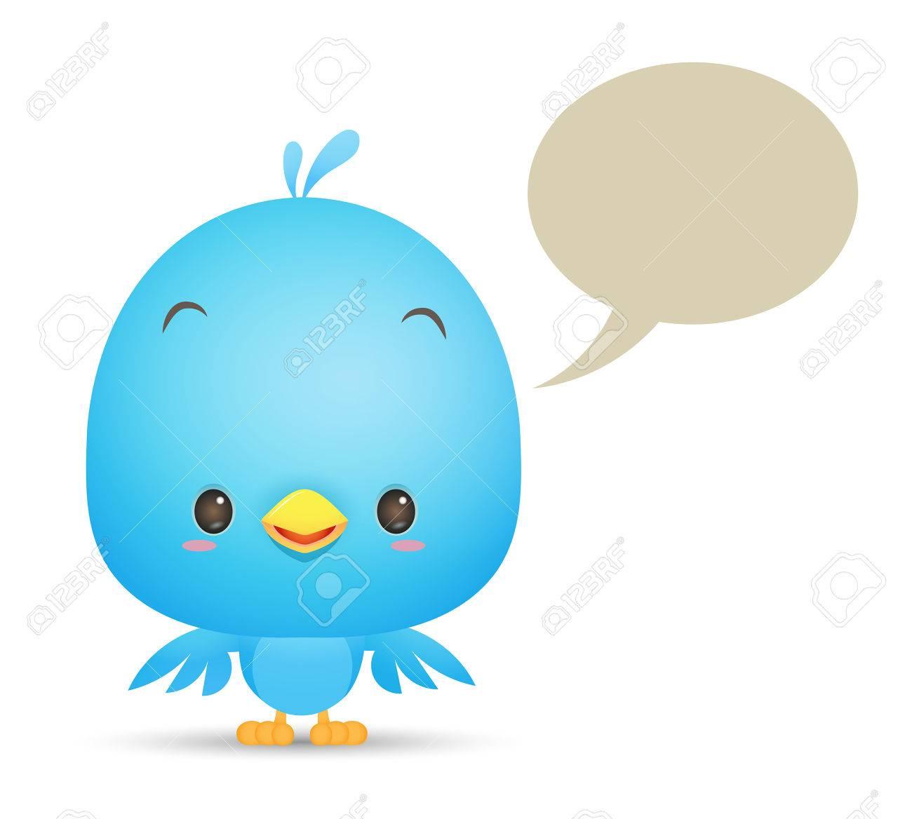空白のバブルとかわいい青い鳥のイラスト アイコンを話します