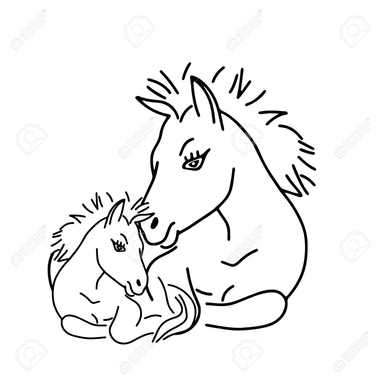 A Black outline hand drawing vector illustration of a horse and a baby horse lying on a grass isolated on a white background - 170194715