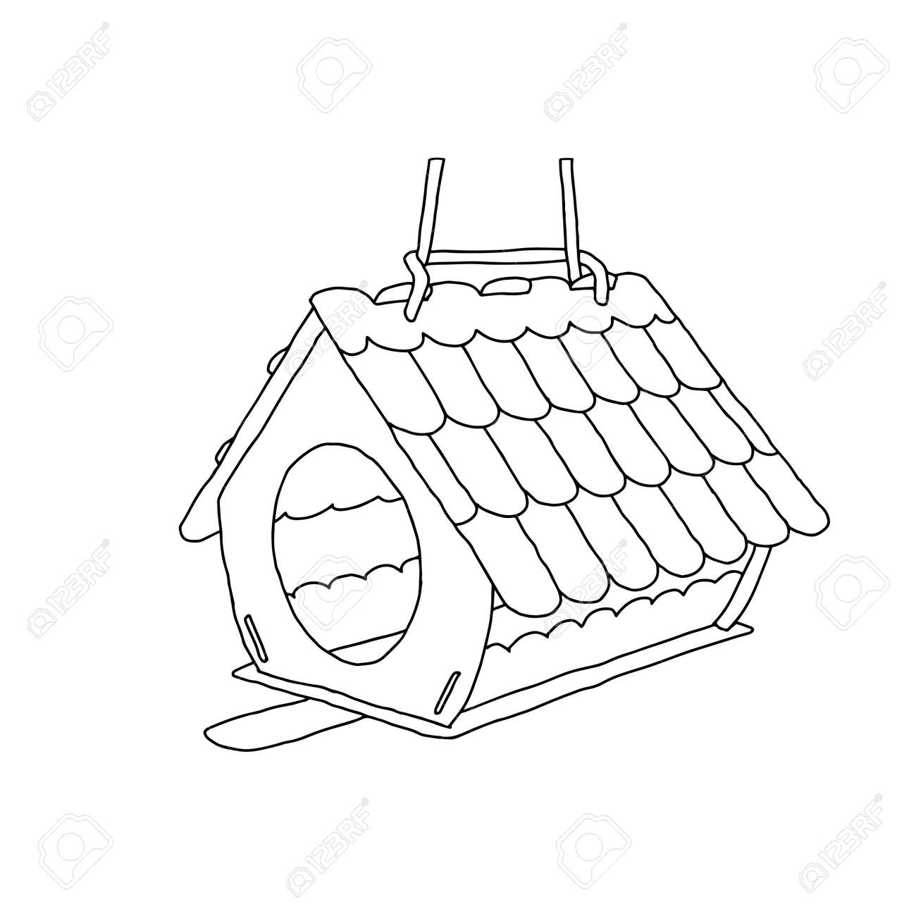A Black hand drawn outline vector illustration of A birdhouse or squirrel house from new boards in the forest isolated on a white background. - 170194978