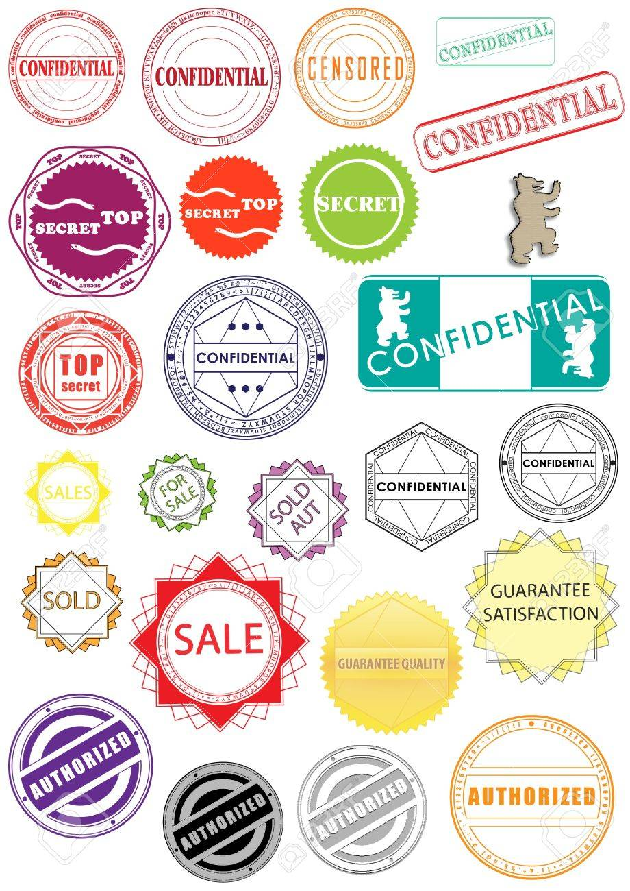 New rubber stamps stickers labels signs and symbols stock photo 9237708