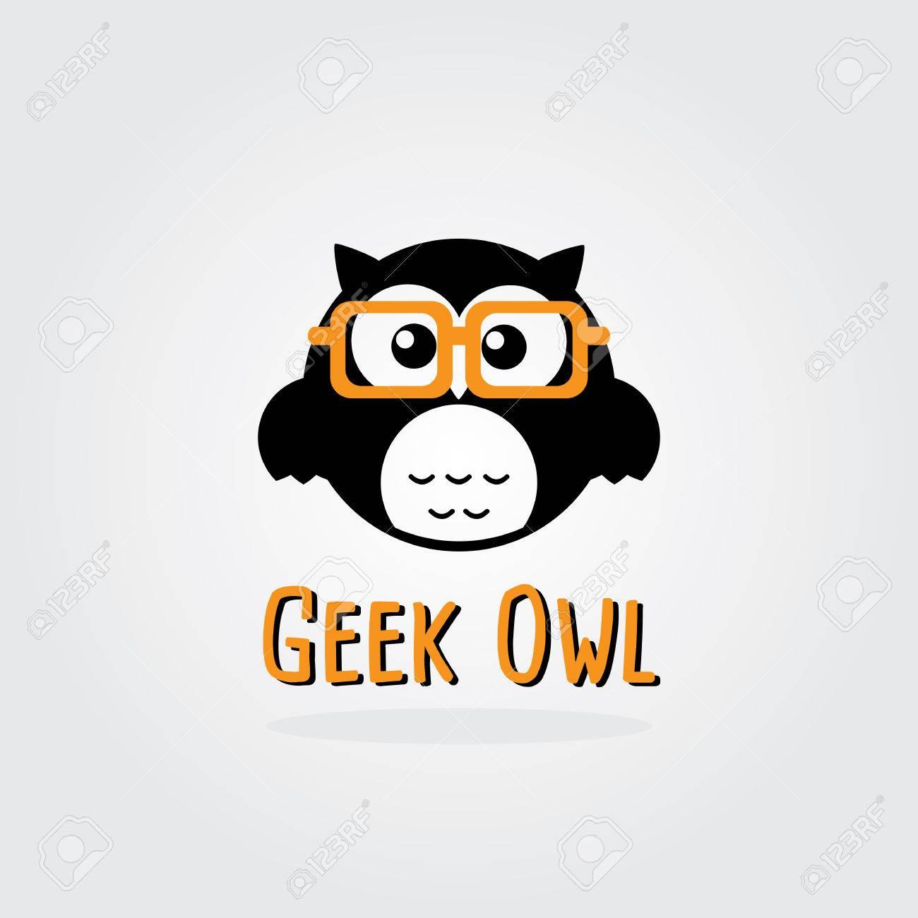 Geek Owl Vector Logo Template. Flat Design. Stock Vector. Royalty ...