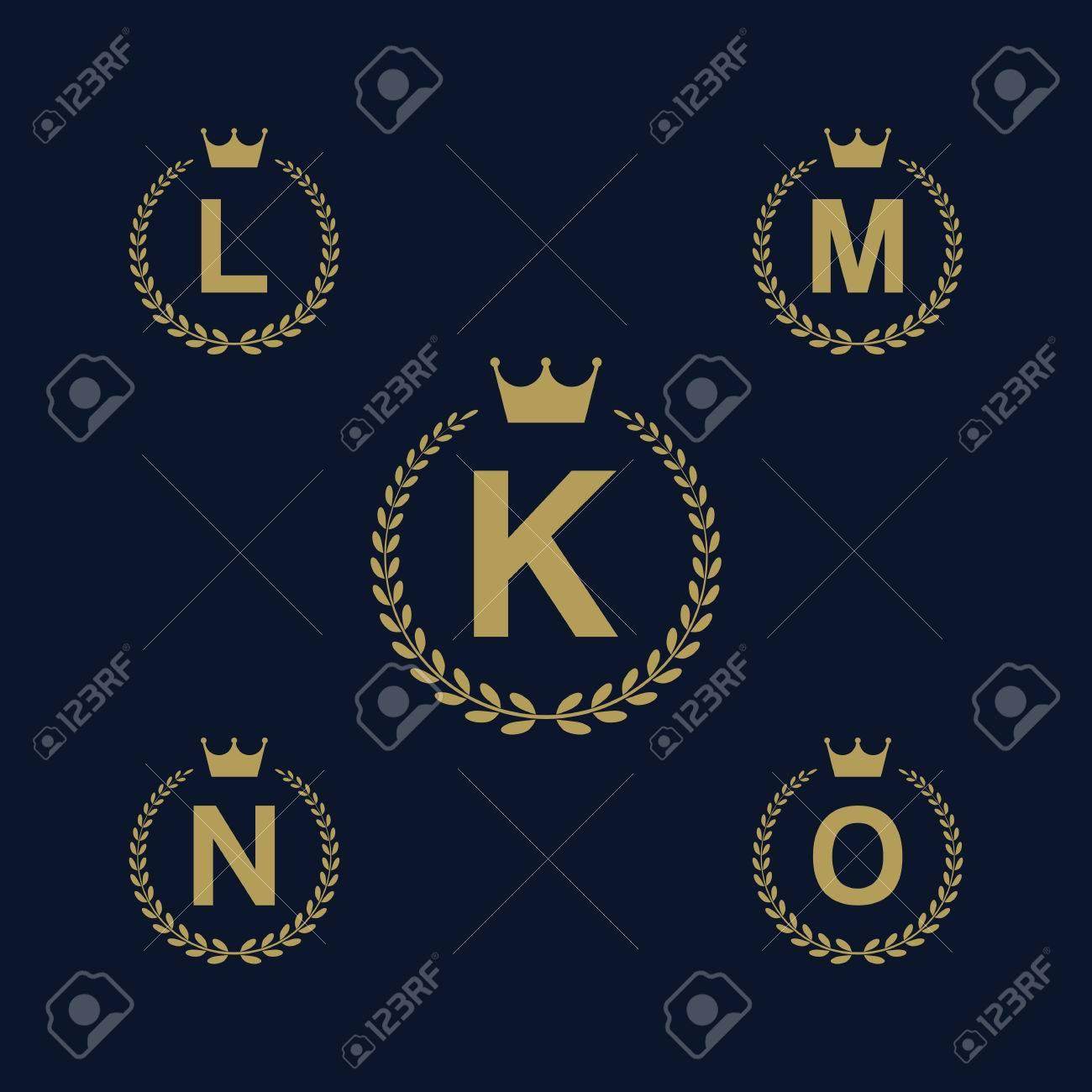7fa15fa6 Laurel wreath logo icon with capital alphabet letters. Design template  elements - Letter K,