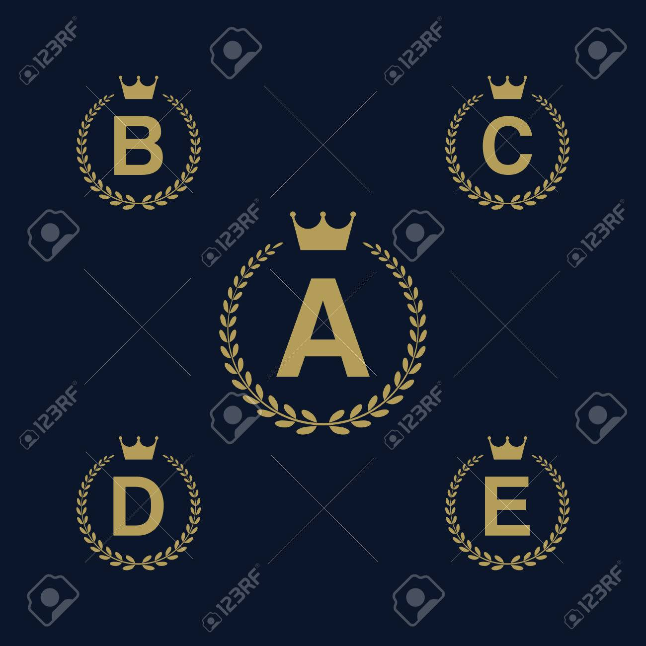 9300442e Laurel wreath logo icon with capital alphabet letters. Design template  elements - Letter A,
