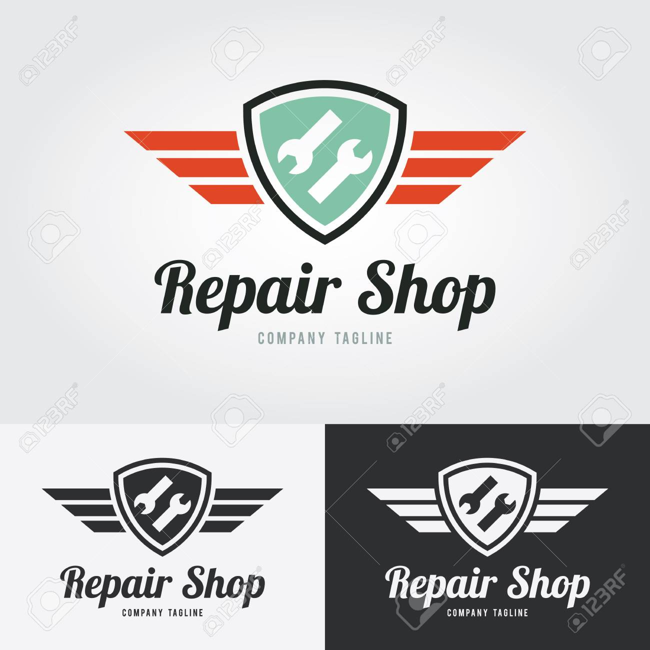Repair Icon Repair Logo With Shield And Wings Vector Illustration