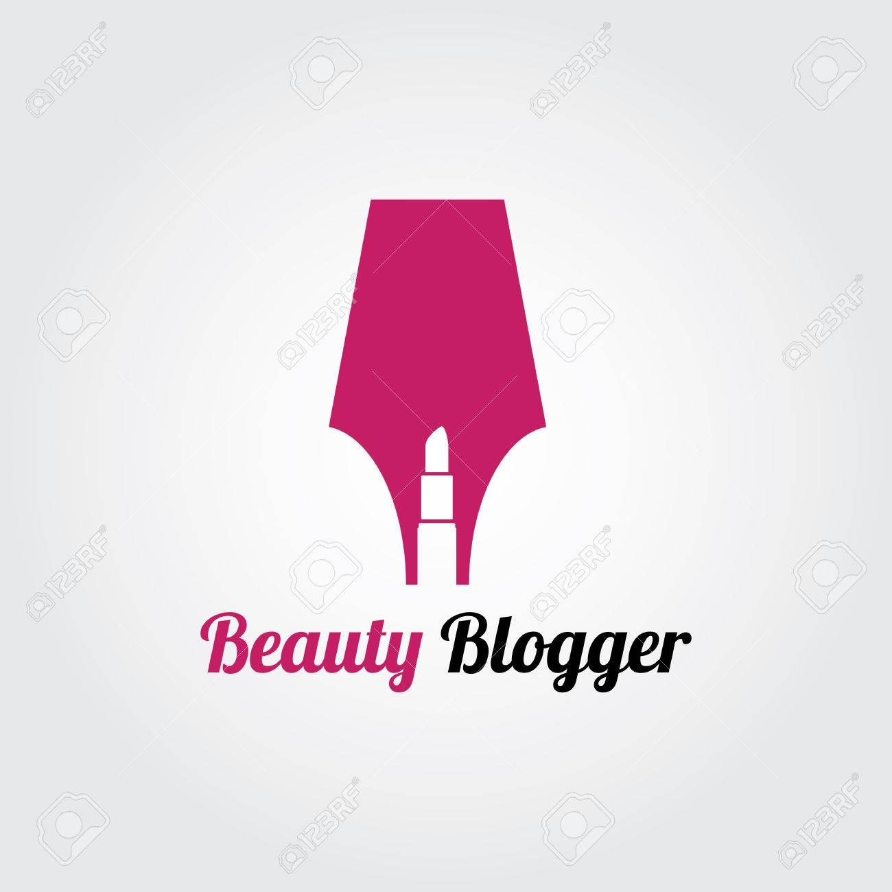 Belleza Blogger Logo Concepto, Cosmética, Maquillaje, Salón De ...
