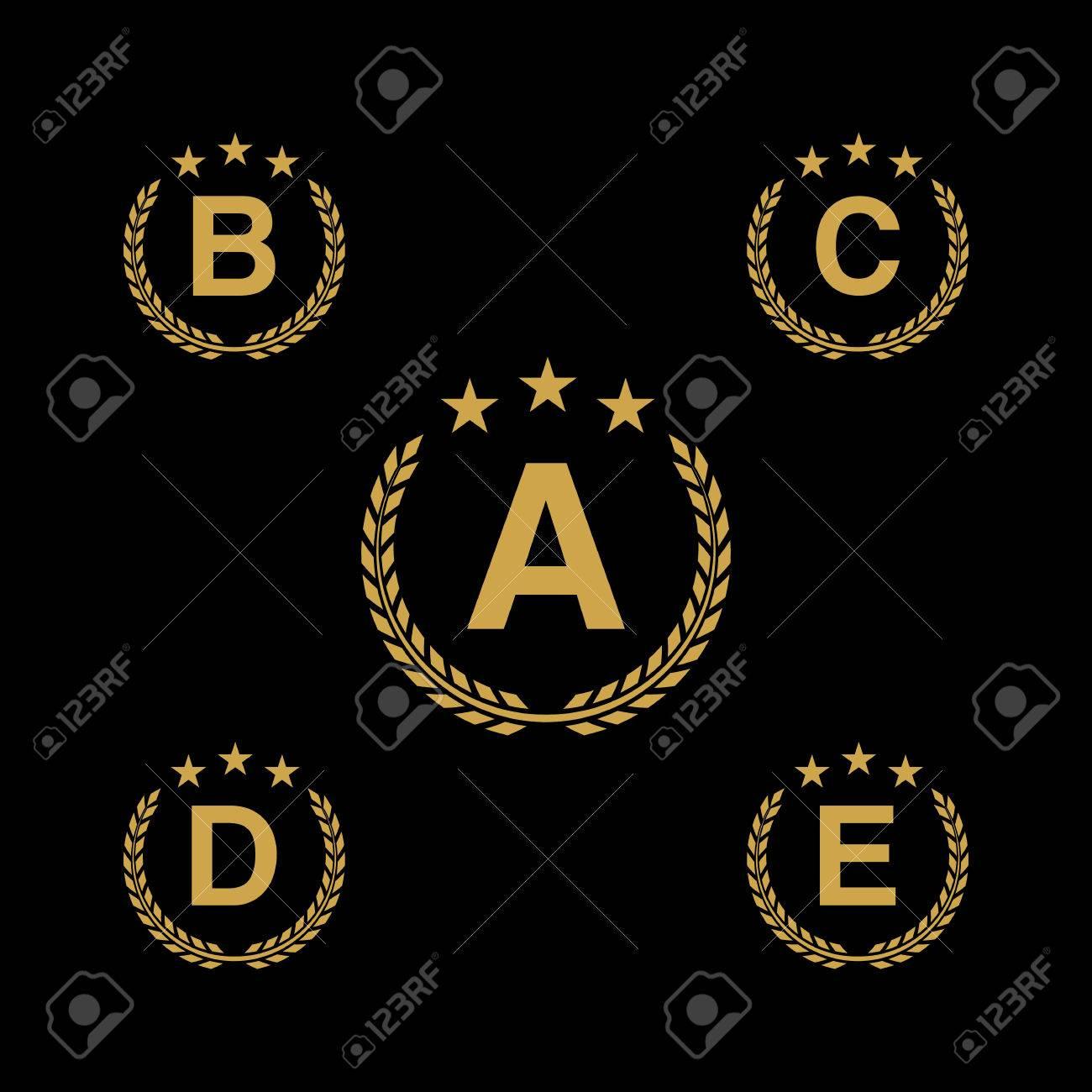 Golden star laurel wreath laurel wreath logo icon with capital laurel wreath logo icon with capital alphabet letters design template spiritdancerdesigns Choice Image