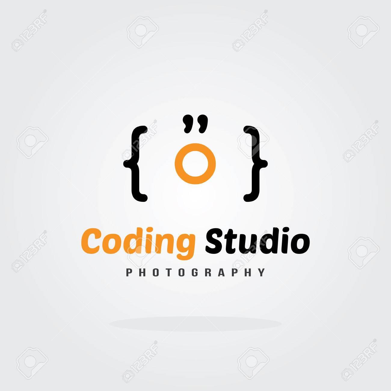 coding studio logo design template camera concept software