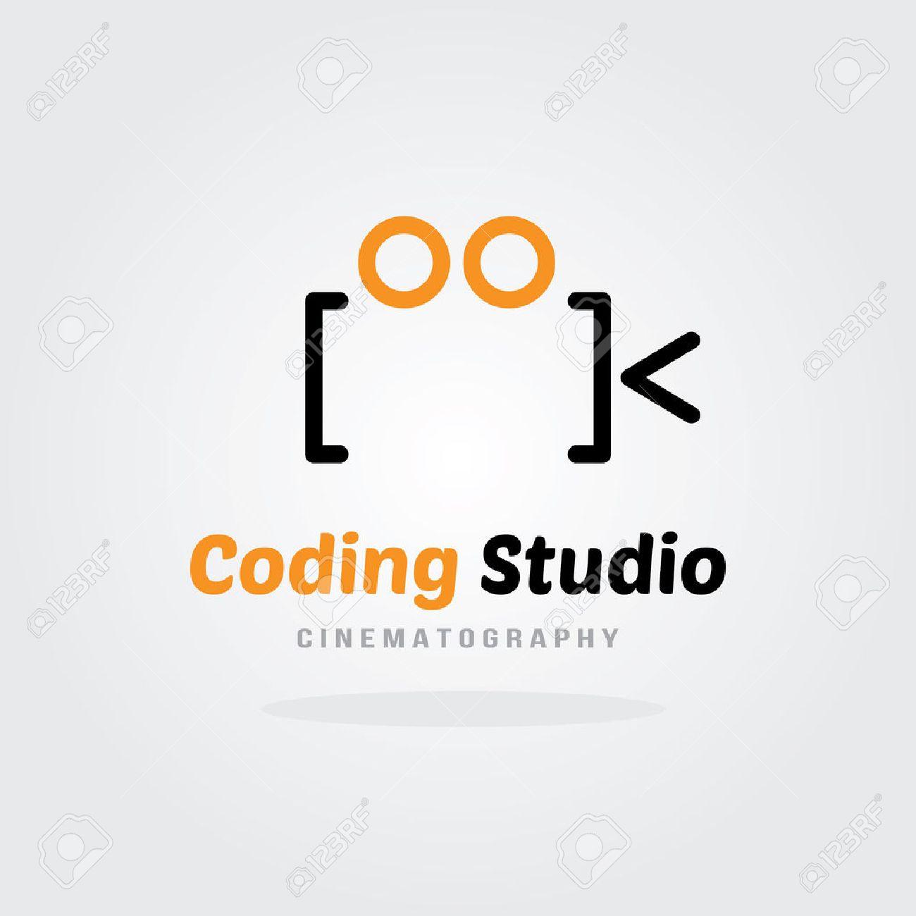 coding studio logo design template video camera concept software company logo template design