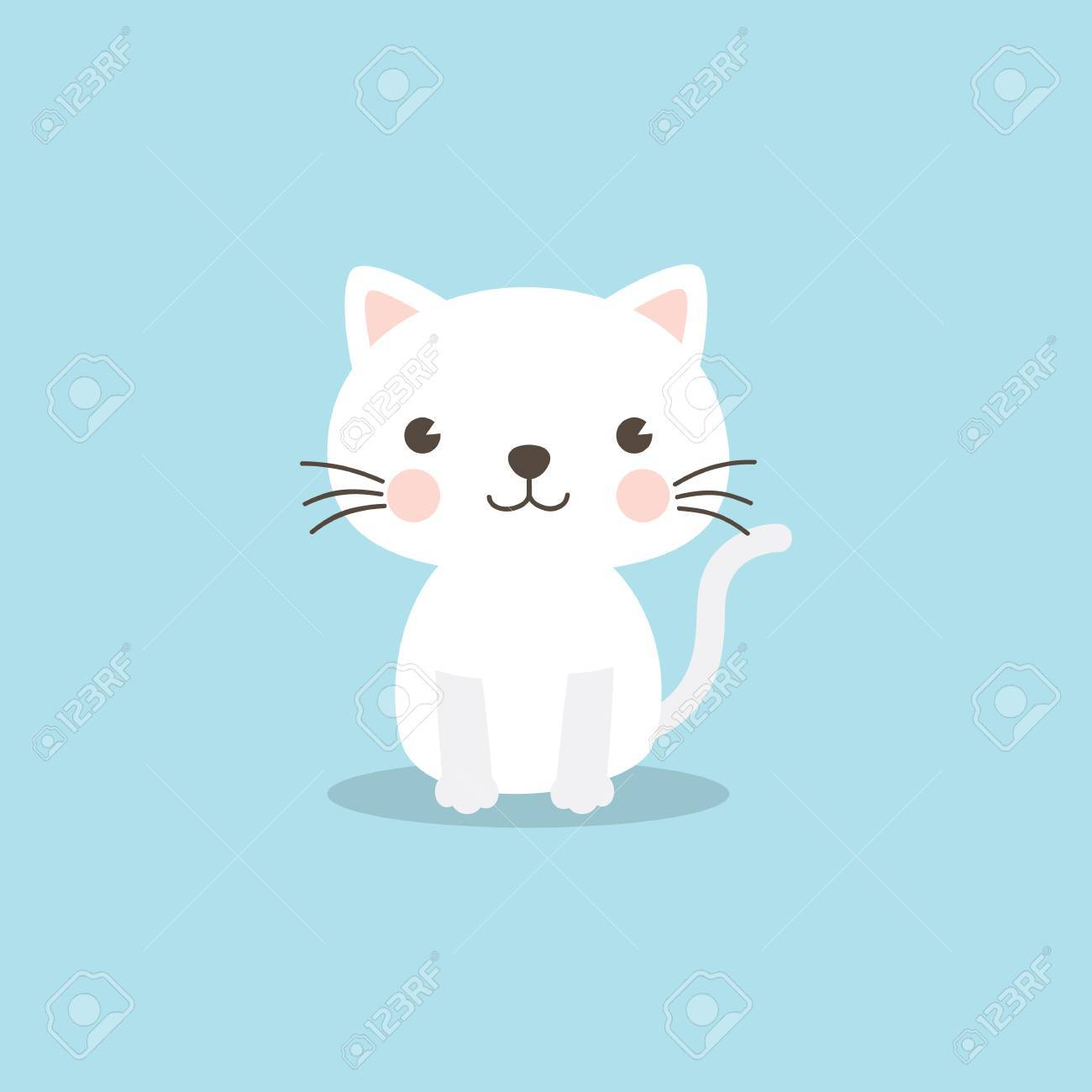 Cat Character A Cute White Kitten On Sky Blue Background Funny Vector Illustration